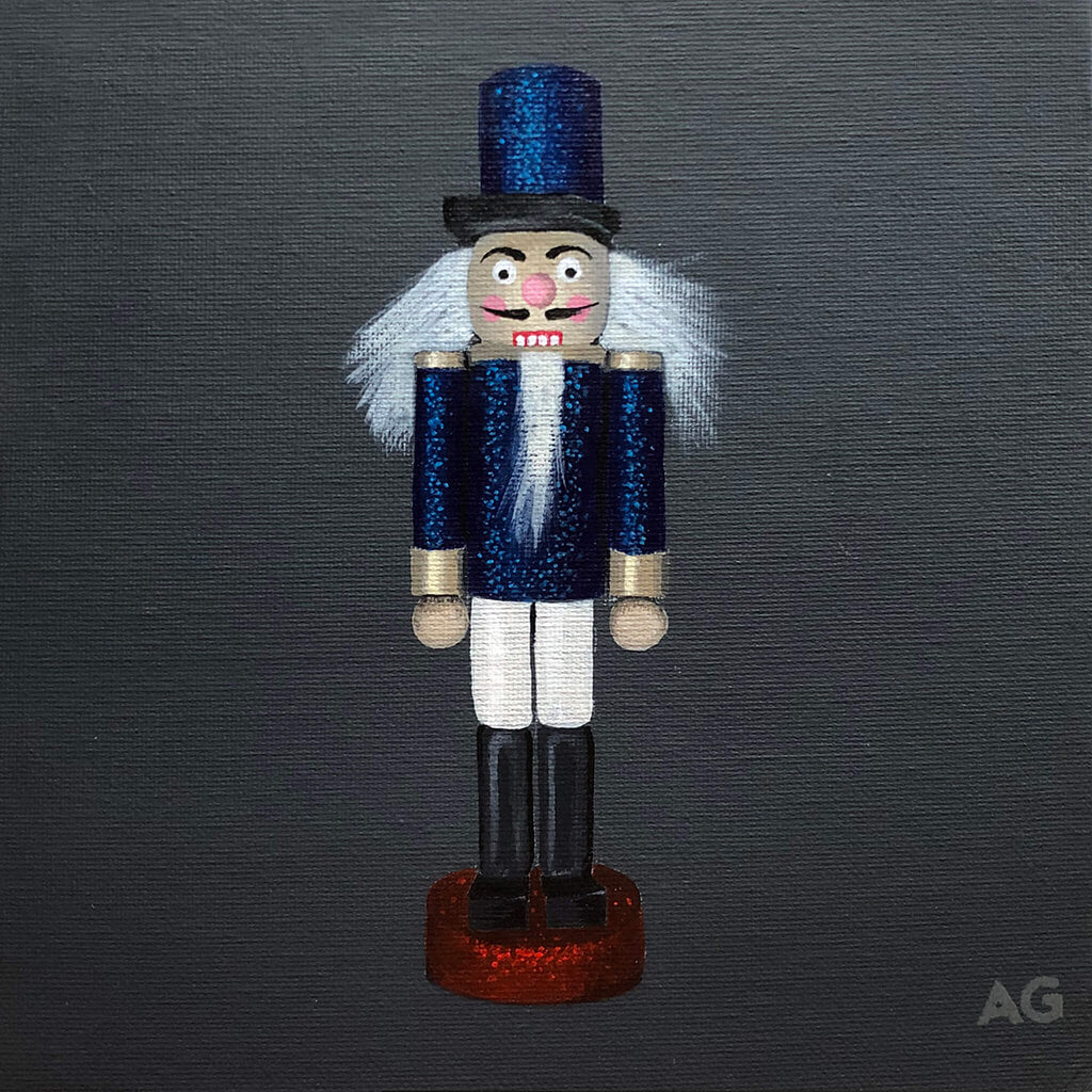 Nutcracker toy soldier Christmas tree decoration, original acrylic on canvas painting by Amanda Gosse