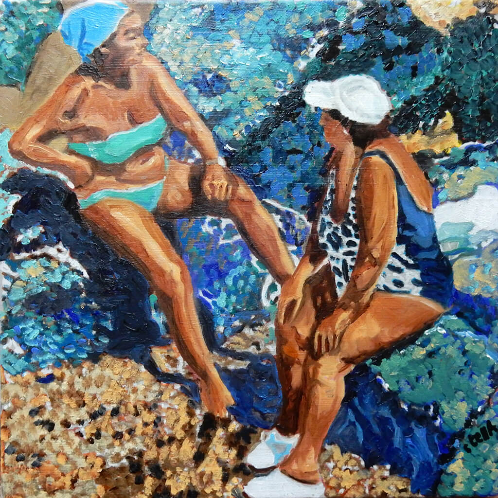 Sunbathing women oil painting on canvas of friends bathing in aqua blue waters by London portrait artist Stella Tooth