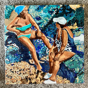 Sunbathing women oil painting on canvas of friends bathing in aqua blue waters by portrait artist Stella Tooth