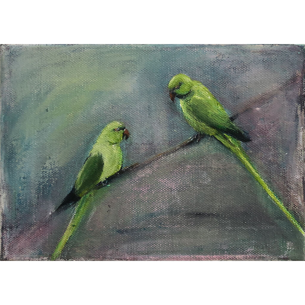 Two Parakeets original acrylic and pastel mixed media artwork of a pair of green parakeets by London bird artist Sarita Keeler