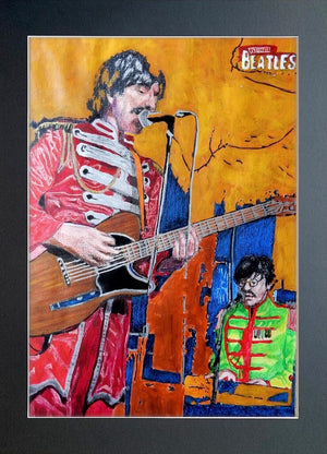 Ultimate Beatles at the Half Moon Putney Mixed media on paper of musician by London based performer artist Stella Tooth display