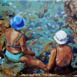Vecchie Amiche in Ischia by Stella Tooth original oil painting of two sunbathing ladies by Mediterranean waters in Italy detail