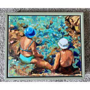 Vecchie Amiche in Ischia by Stella Tooth original oil painting of two sunbathing ladies by Mediterranean waters in Italy framed