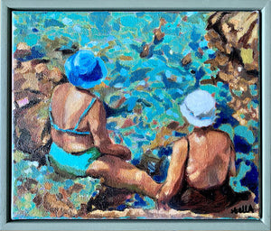 Vecchie Amiche in Ischia by Stella Tooth original oil painting of two sunbathing ladies by Mediterranean waters in Italy display