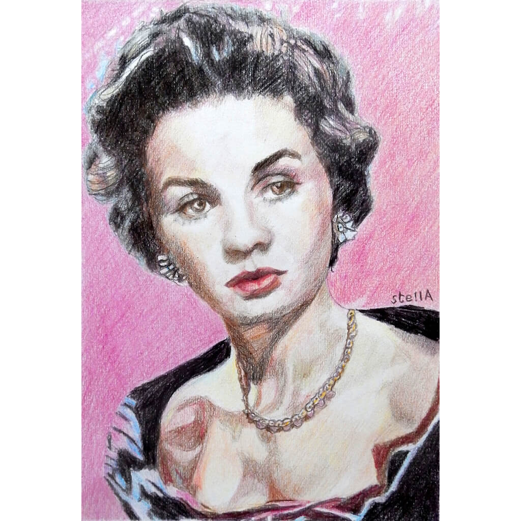 Vivien Leigh actress portrait pencil on paper in pink and black by London based artist Stella Tooth