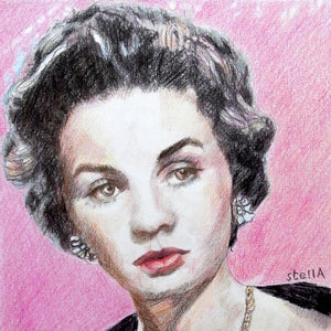 Vivien Leigh actress portrait pencil on paper in pink and black by London based artist Stella Tooth detail