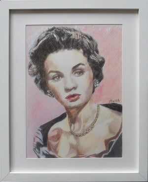 Vivien Leigh actress portrait pencil on paper in pink and black by London based artist Stella Tooth display