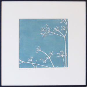 Cow Parsley hand printed linocut finished with pencil details by London artist Sarah Knight in Stone Blue or Purbeck Stone Wall