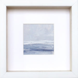 Seascape IX by Sarah Knight. An original semi-abstract mini oil seascape of stormy seas in blues and greys with optional frame Wall