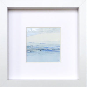 Seascape XIV by Sarah Knight. An original semi-abstract mini oil seascape of calm seas in blue, cream and grey with optional frame Wall