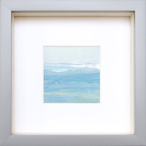 Wall Seascape XVIII by Sarah Knight. An original semi-abstract mini oil seascape of calm seas in blue, green and grey with optional frame