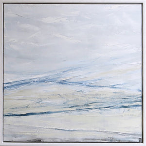 Wall Seascape in Cerulean Blue by Sarah Knight. An original semi-abstract large oil seascape painted in shades of blue, white and grey framed