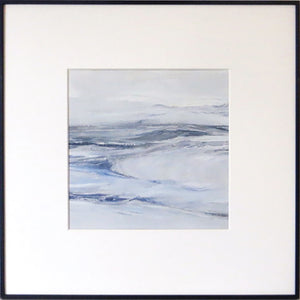 Wall Seascape in Lismer Blue by Sarah Knight. An original semi-abstract mini oil seascape of calm seas in blue and grey with optional frame