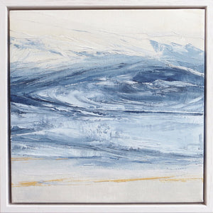 Wall Stone Blue Storm by Sarah Knight. An original semi-abstract oil seascape painted in shades of blue and grey framed in white wood