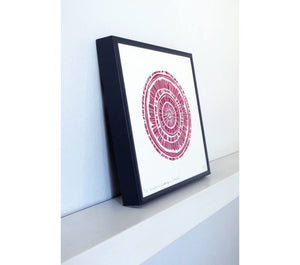 Hand printed linocut by artist Sarah Knight. Weathered Woodrings is available in either crimson or teal, both in an optional navy blue frame. Side