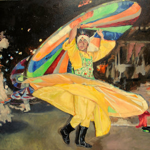 Turkish whirling dervish dancer performing in Turkey original artwork oil on canvas painting by Stella Tooth artist detail