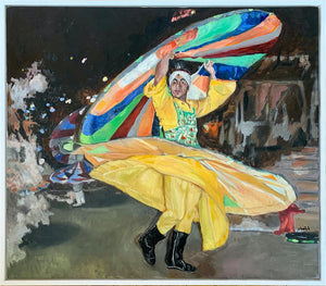 Turkish whirling dervish dancer performing in Turkey original artwork oil on canvas painting by Stella Tooth artist display