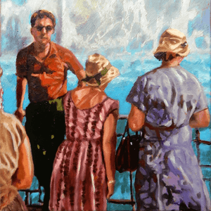 White water oil painting on canvas of tourists standing by the Niagara Falls by London based portrait artist Stella Tooth detail