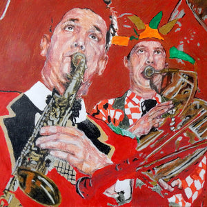 Mixed media on paper artwork of Whoopee Band Richard White and Malcolm Sked by Stella Tooth who is resident artist at the Half Moon Putney detail