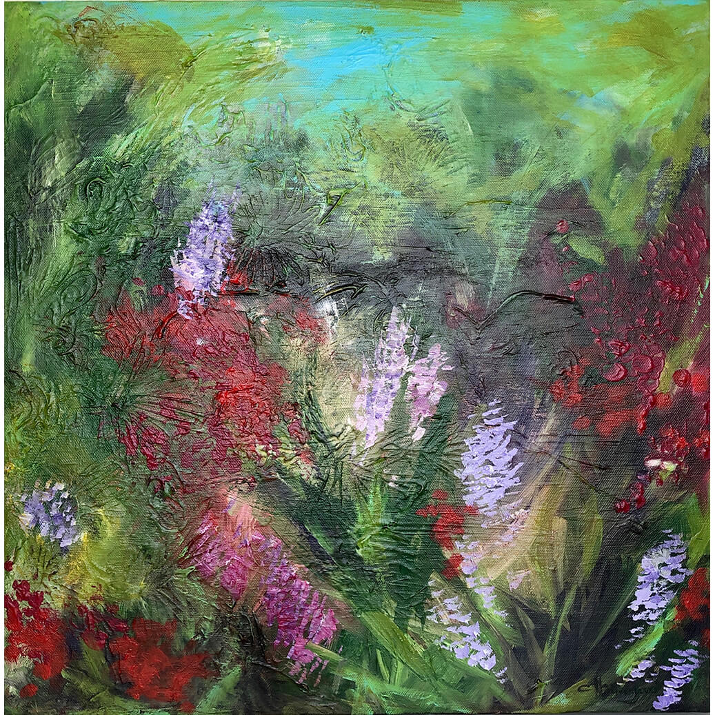 Meadow medium sized square acrylic painting on canvas by flower artist Claire Thorogood