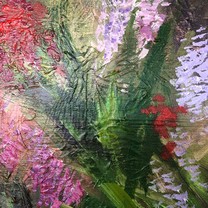 Meadow medium sized square acrylic painting on canvas by flower artist Claire Thorogood Detail