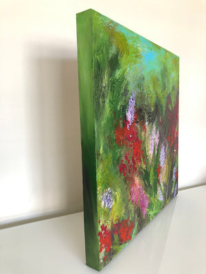 Meadow medium sized square acrylic painting on canvas by flower artist Claire Thorogood Side