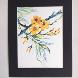 Yellow Hibiscus by Helen Trevisiol Duff Watercolour Painting
