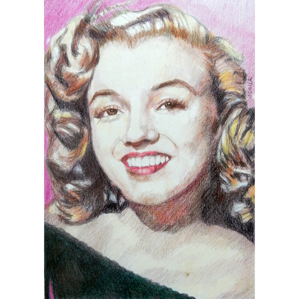 Portrait of Marilyn Monroe in her youth pencil on paper in frame by London based portrait artist Stella Tooth