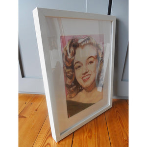 Portrait of Marilyn Monroe in her youth pencil on paper in frame by London based portrait artist Stella Tooth side