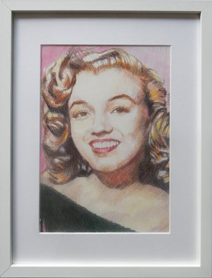 Portrait of Marilyn Monroe in her youth pencil on paper in frame by London based portrait artist Stella Tooth display