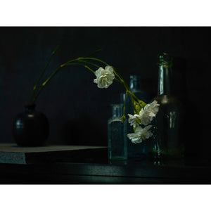 Dutch Masters still life with bottles and flowers by Michael Frank