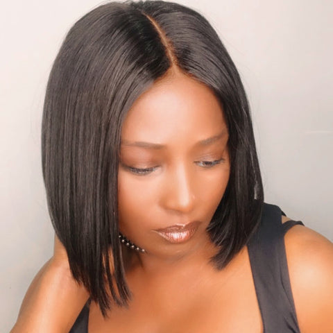 Premuim 2x6 custom made lace closure bob wig Uk,