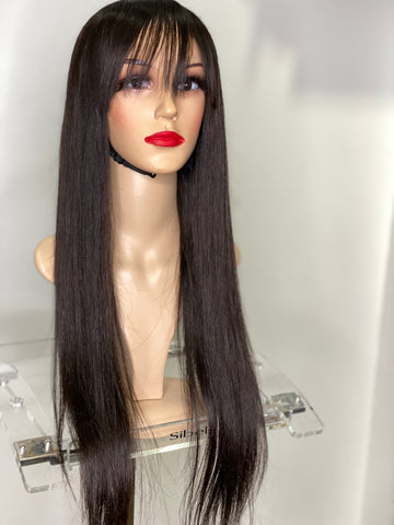 Wig with bang human hair