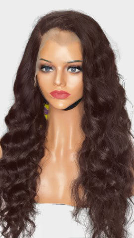 lace frontal brown colour bodywave wig