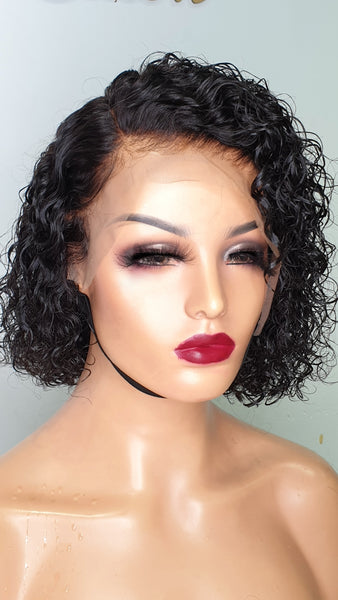 lace frontal curly pixie wig