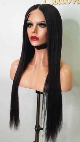 transparent lace 5by5  middle long wig