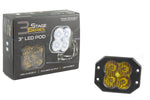 Worklight SS3 Pro Yellow Flood Flush Single Diode Dynamics