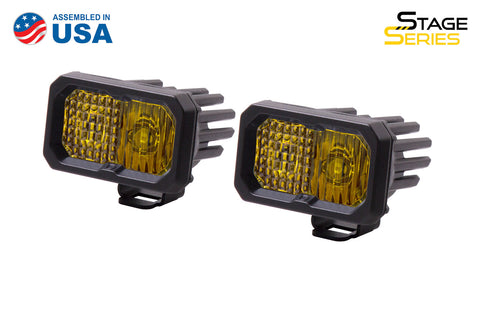 Stage Series 2 Inch LED Pod, Pro Yellow Combo Standard ABL Pair - San Diego Overland