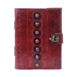 7 Stone Eye Leather Journal Writing Handmade Leather Notebook - Classy Leather Bags