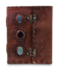 Embossed Leather 3 Stones Eye Linen Paper Journal 5 x 7 Inch - Classy Leather Bags