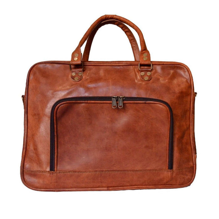 Handmade Genuine Vintage Leather Briefcase (Slim, Tan)