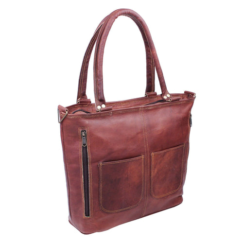 Brown Leather Shoulder Women Handbag