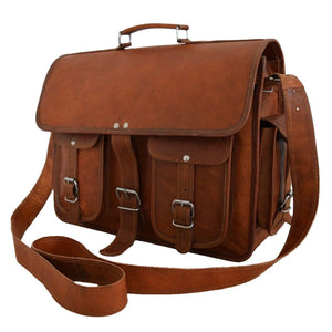 Convertible Leather Laptop Briefcase Backpack Messenger Bag