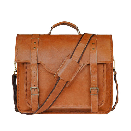 Full Grain Tan Brown Leather Messenger Bag 18 Inch Classy Leather Bags