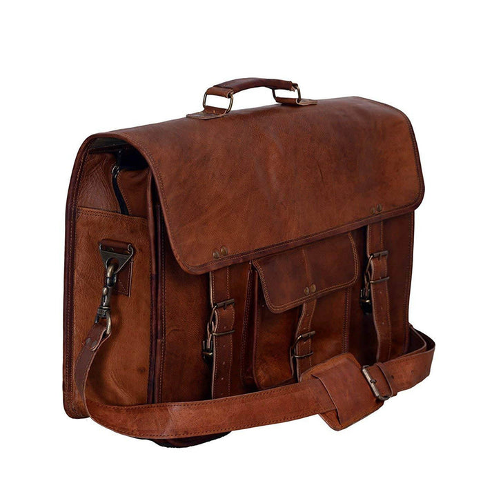 Attorney Leather Briefcase Laptop Messenger Bag 18 Inch