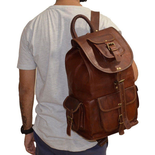 Large Leather Outdoor Hiking Travel Backpack Rucksack Classy Leather Bags