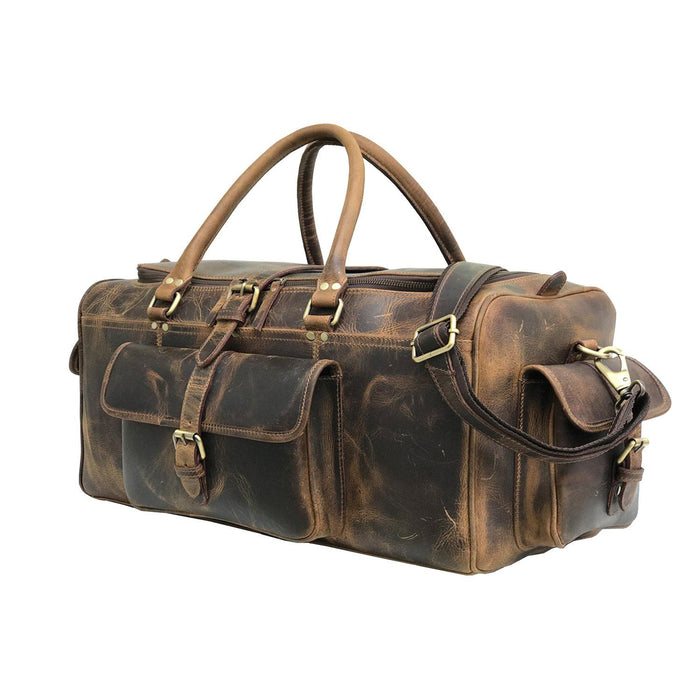 Roosevelt Buffalo Leather Travel Weekender Duffle Bag