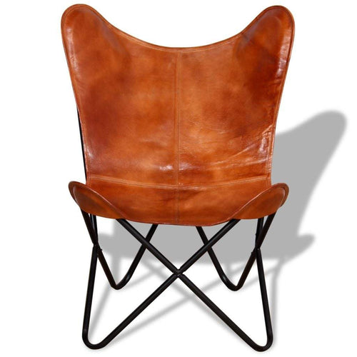 Handcrafted Butterfly Chair Real Leather Brown - Classy Leather Bags