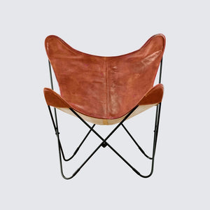 Cognac Leather Butterfly Living Room Chair - Classy Leather Bags