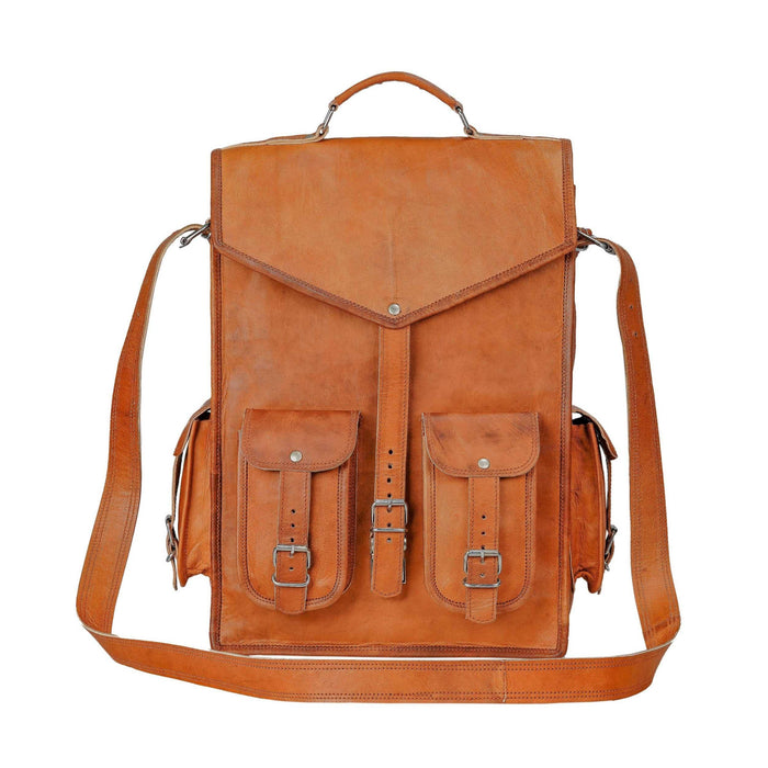 Tan Leather Convertible Backpack Messenger Bag